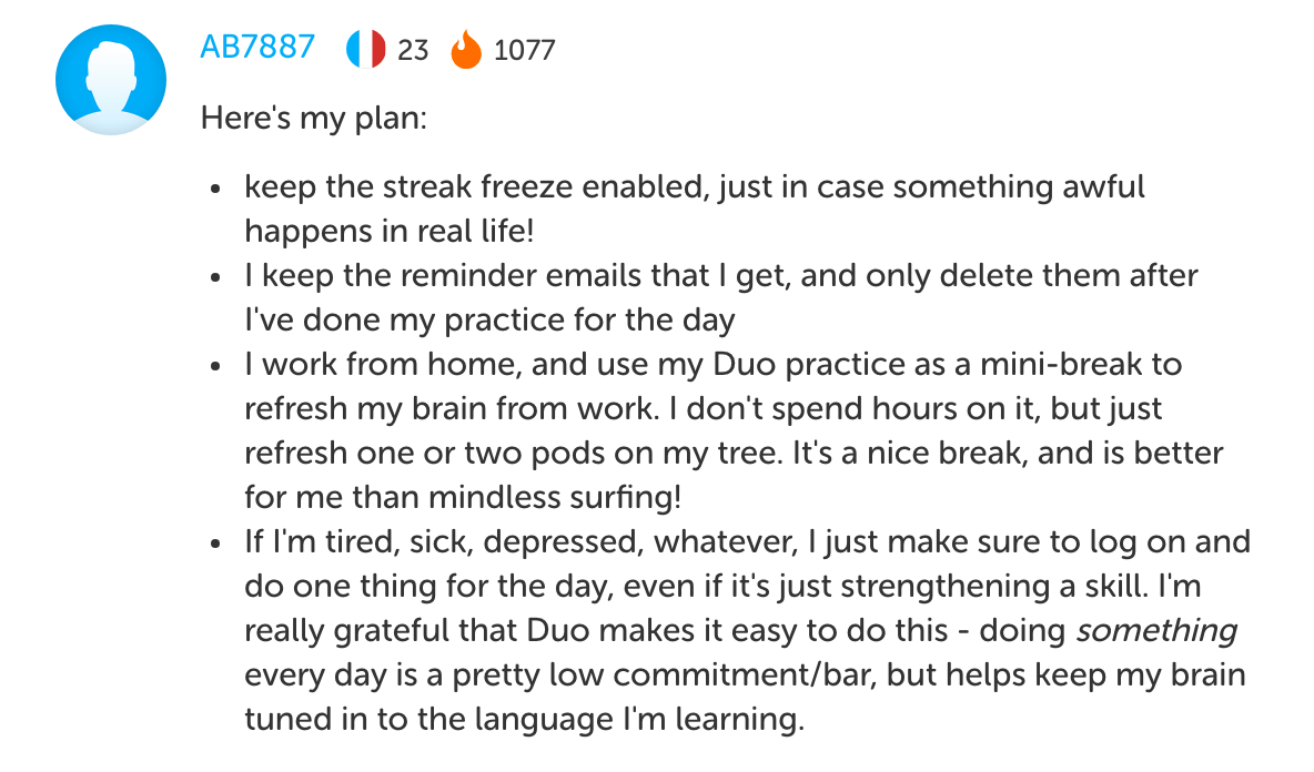 A user's post about their streak