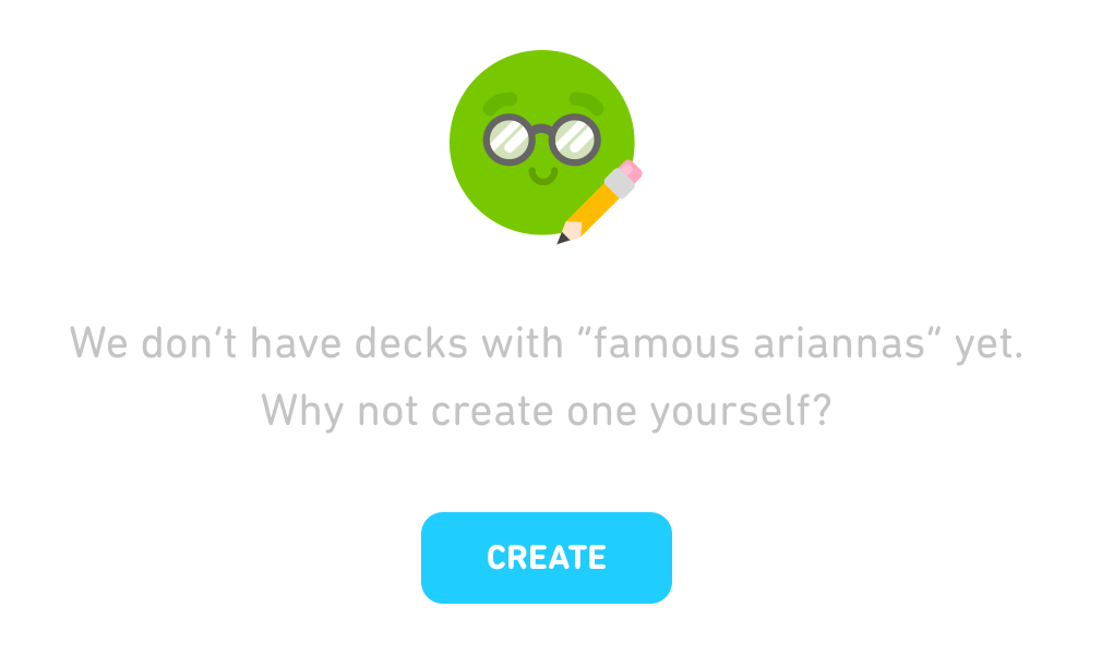 When no search results are found, Tinycards prompts users to create their own decks.