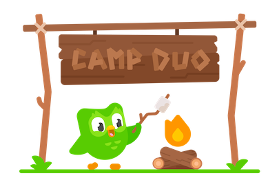 Duolingo characters dressed for summer camp