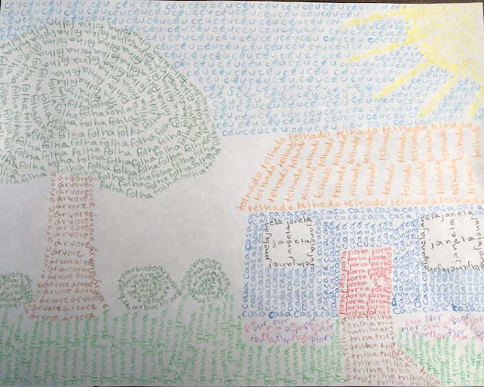 Drawing of a house and a yard with the Portuguese words composing each image