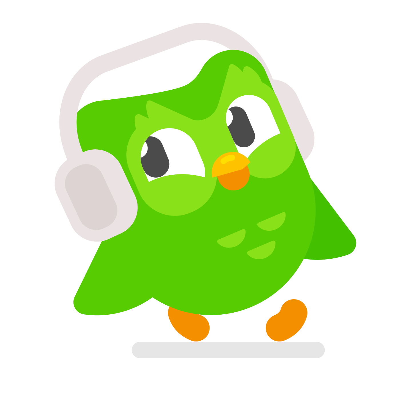 image of Duo the owl walking cheerfully with headphones on