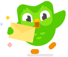 Image of Duo the owl holding a yellow envelope with sparkles around it and one wing waving in the air excitedly