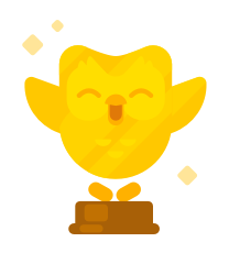 Image of the Duolingo owl in gold, standing on a base as a trophy. His wings are raised up by his head in triumph and there are little gold sparkles around him.