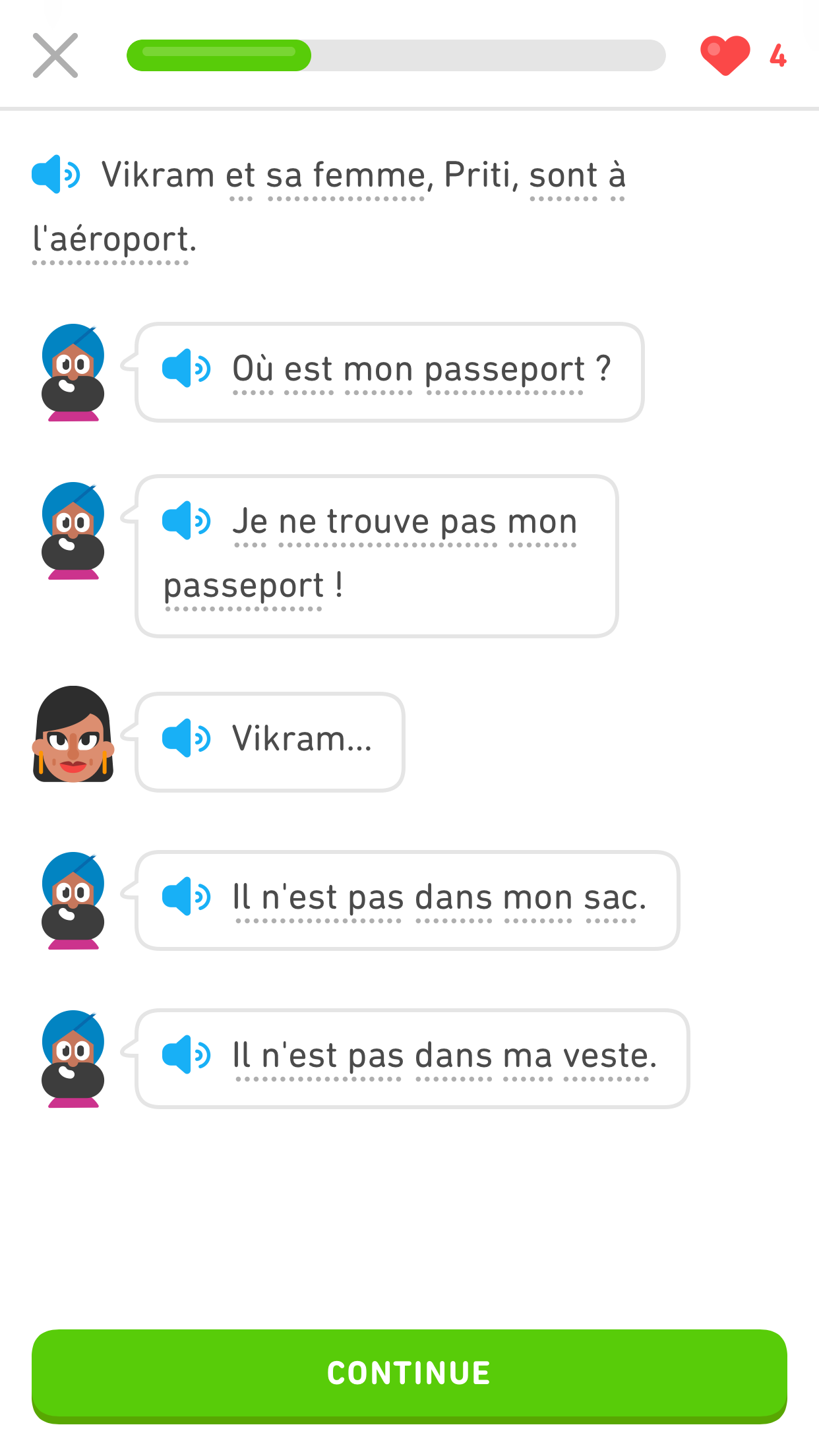 screenshot of a Duolingo Story in French showing a written conversation between the Duolingo character Vikram and his wife, represented by speech bubbles