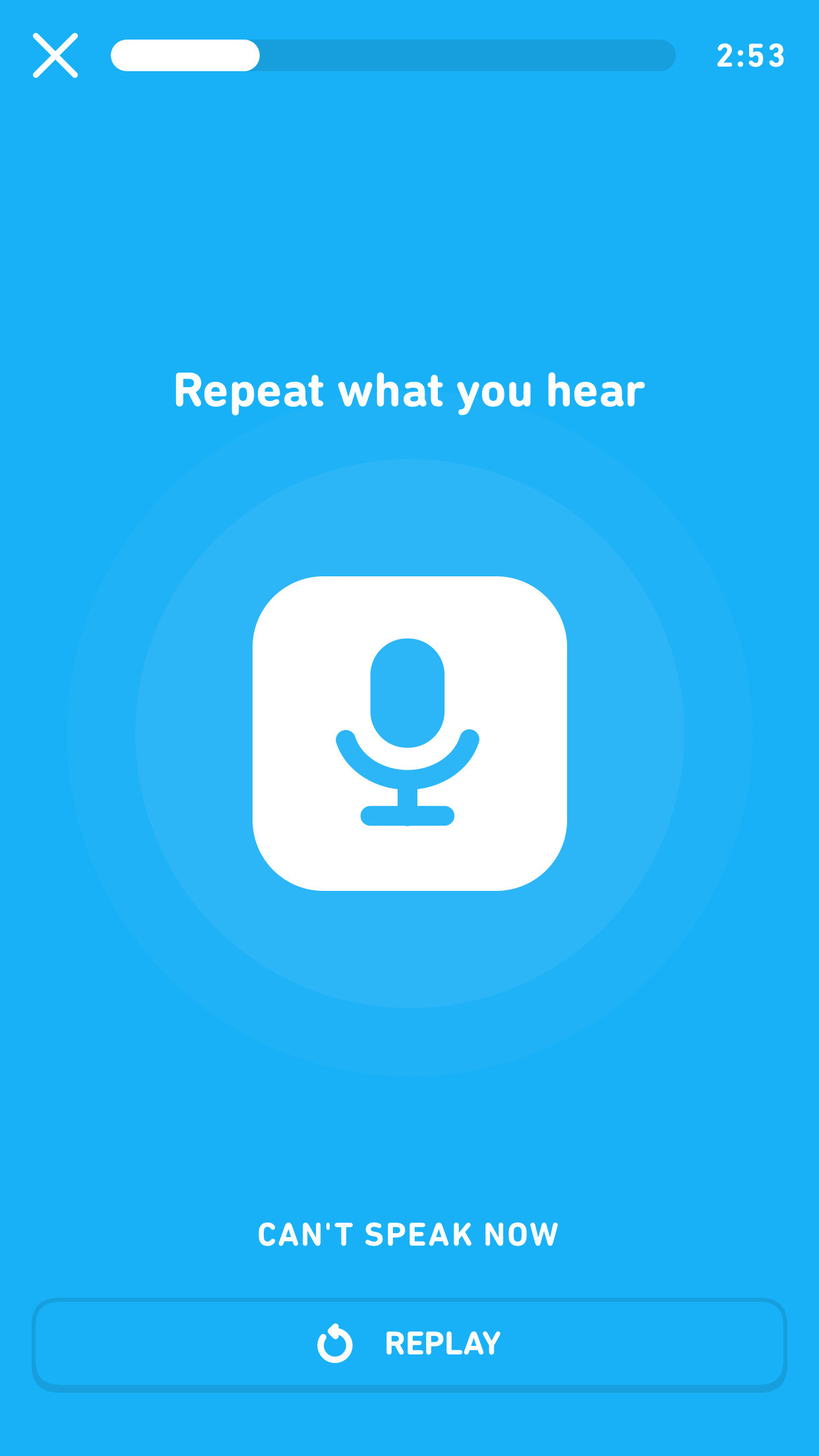 "Screenshot of an audio lesson. The screen is all blue and in the center is a large microphone icon and faint blue circles emanating from it, indicating that audio is being recorded. The prompt at the top reads ""Repeat what you hear."""