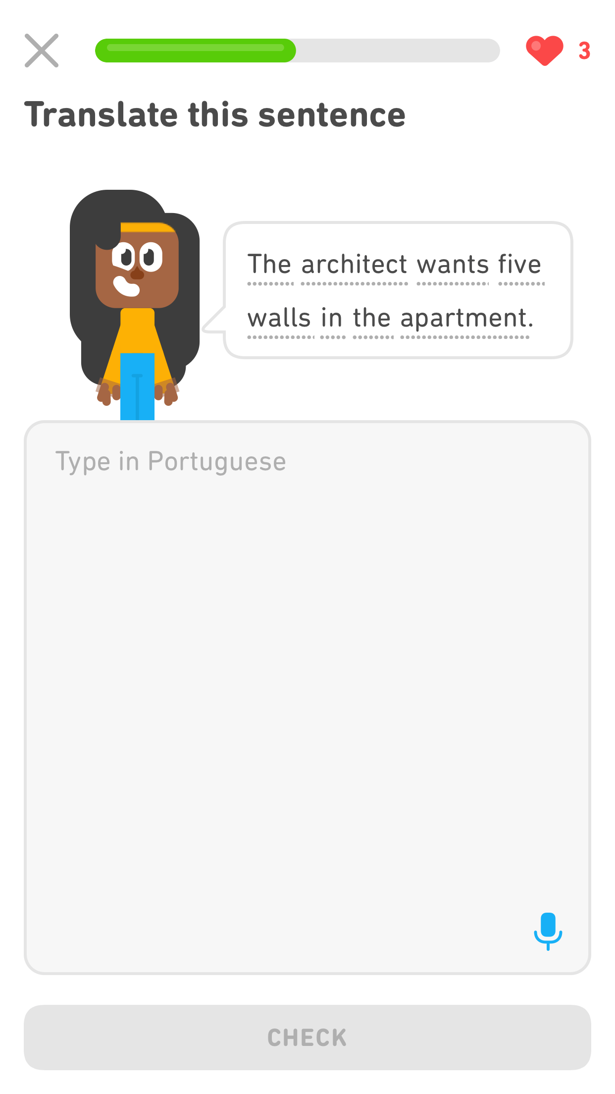 "Screenshot of an exercise with the prompt ""Translate this sentence."" Under the prompt is the Duolingo character Bea next to a speech bubble with the English sentence ""The architect wants five walls in the apartment."" Below the character and the speech bubble is the typical large gray text box filling the rest of the screen, and there is light gray text at the top of it that says ""Type in Portuguese."" But there is a new, small, blue microphone icon in the bottom right of the text box."