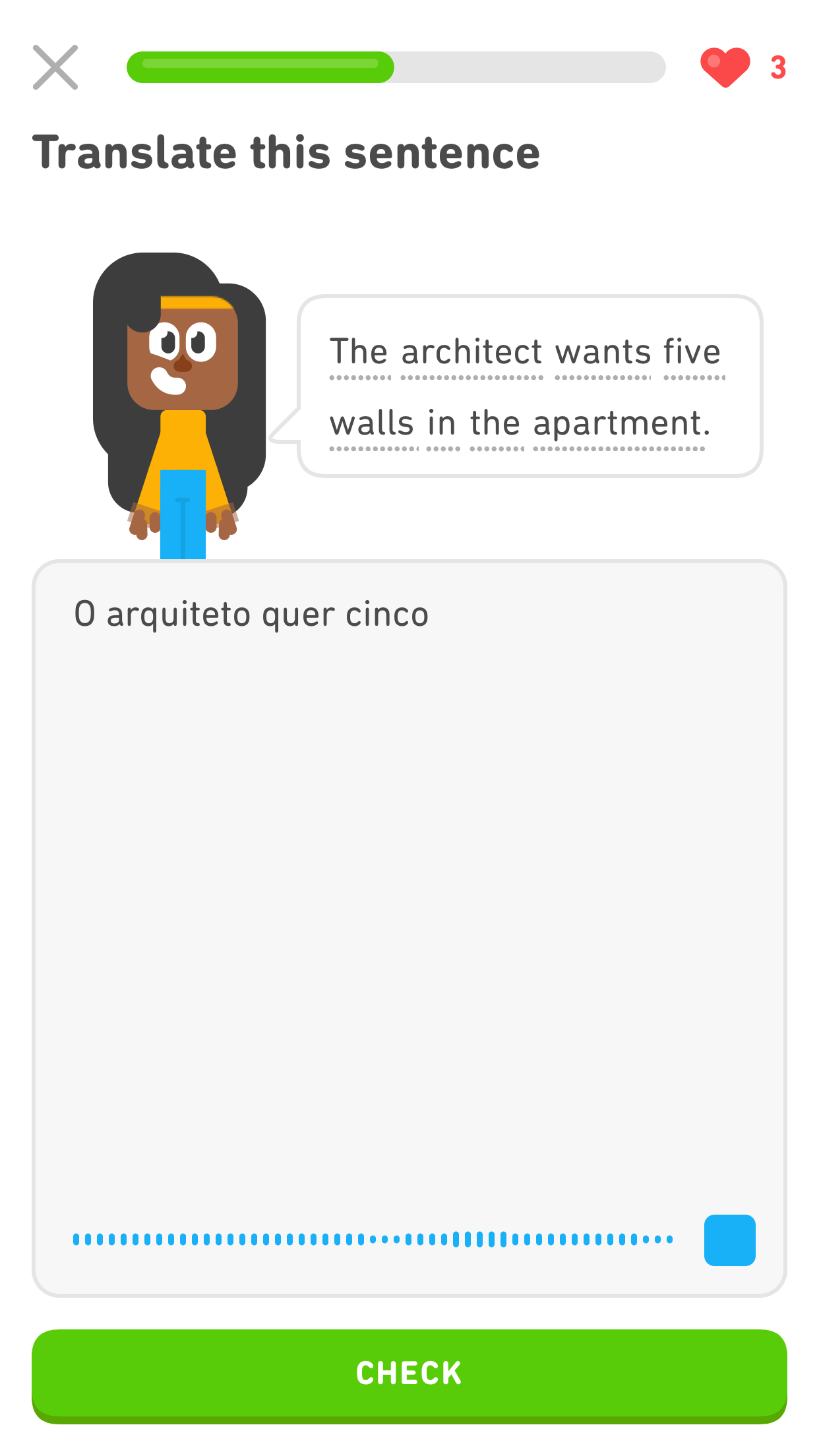 "Screenshot same as previous. The prompt reads ""Translate this sentence,"" below it is the character Bea and a speech bubble reading ""The architect wants five walls in the apartment."" The large gray text box now has four Portuguese words in black text. At the bottom right, where the small microphone icon was, there is now a blue square (a ""stop"" button) and to the left of it, for the length of the text box, is small blue lines that get slightly taller and slightly shorter, indicating that speech is being recorded."