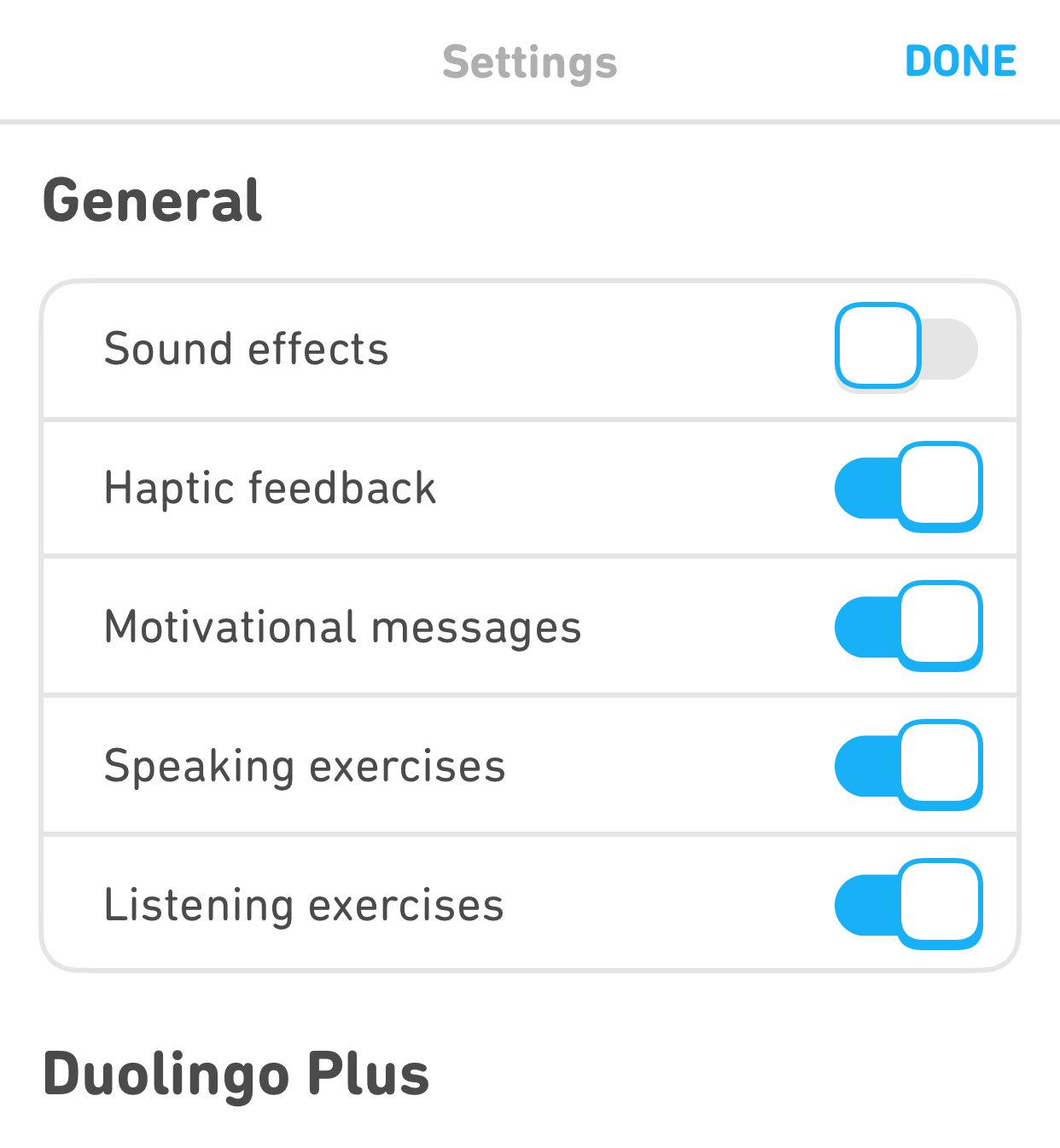 "Screenshot of the author's settings page in the mobile app. It is scrolled to a section labeled ""General"" and there is a list of five settings and five toggle buttons. The final setting is for ""Listening exercises"" and it is toggled on."