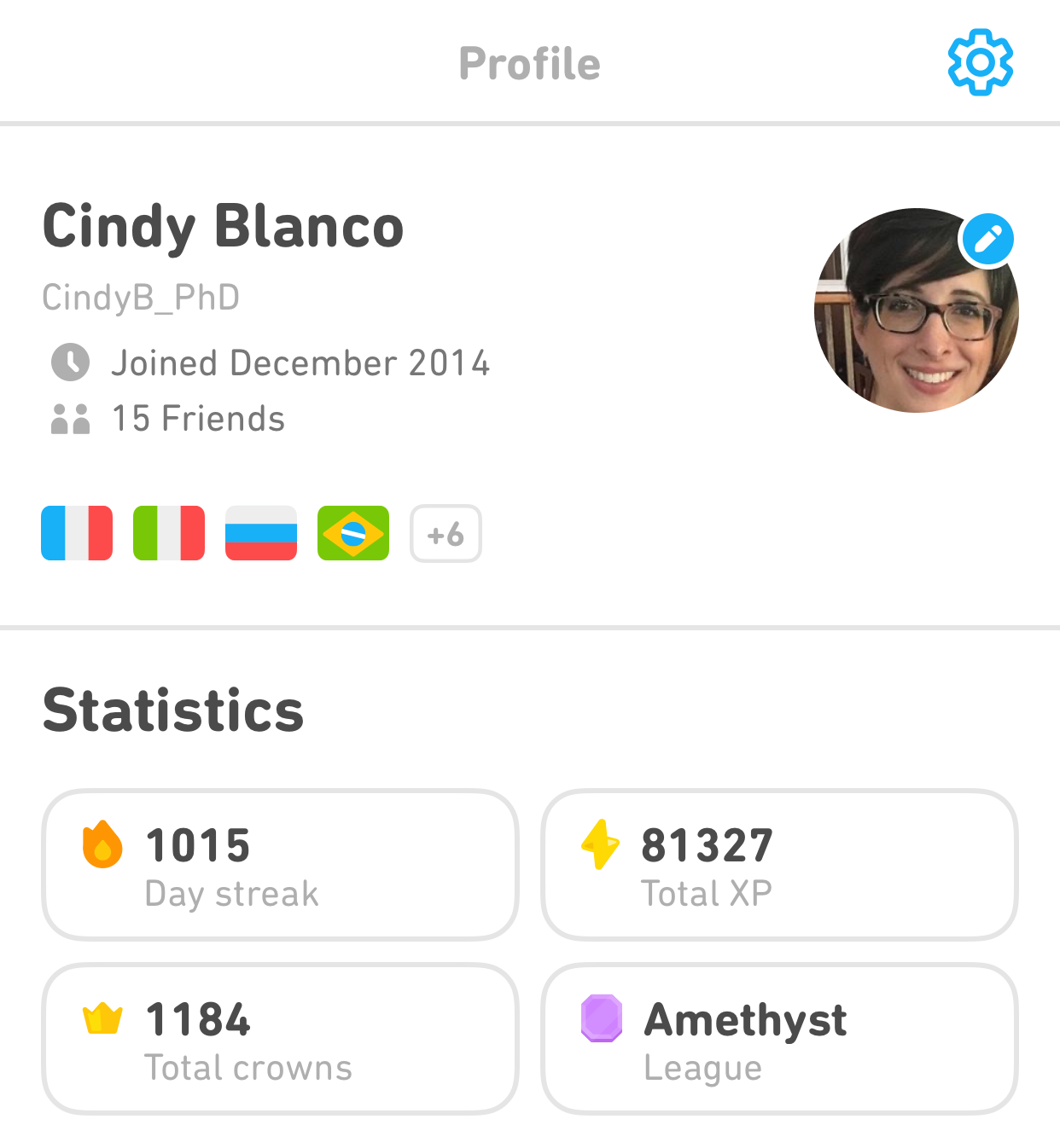 "Screenshot of the author's profile in the mobile app. It says ""Profile"" at the top, her name (Cindy Blanco) and face appear underneath, and there is a section that of her ""Statistics"" in the app. In the top right is a settings wheel."