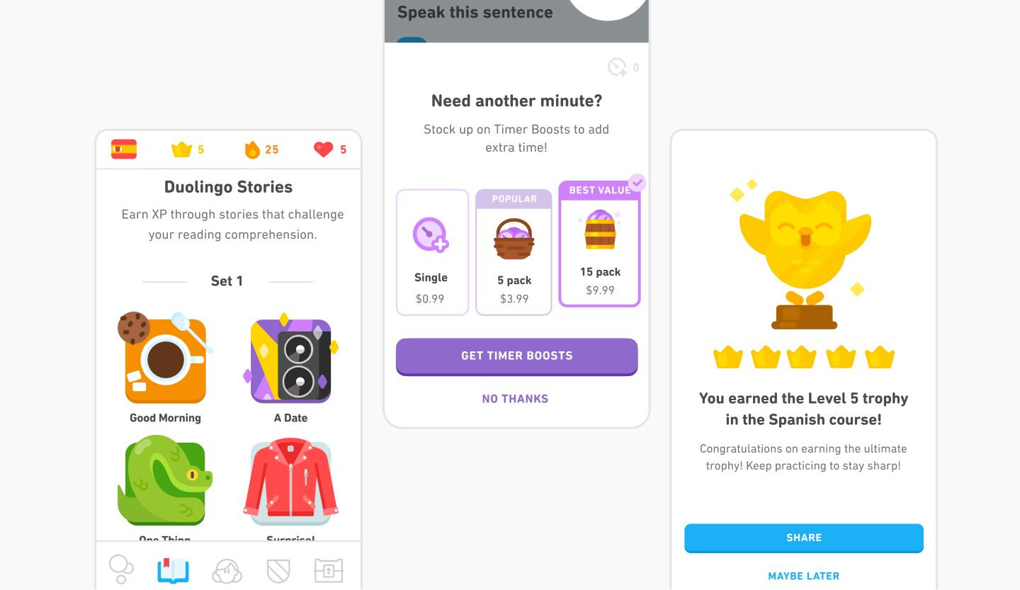Illustrations used in the Duolingo learning app