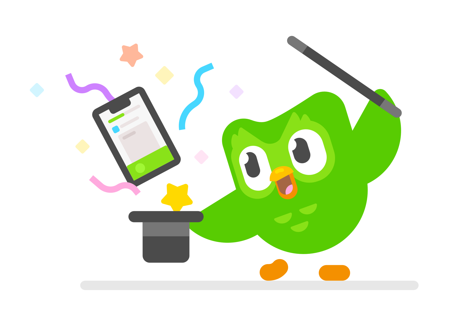 image of Duo owl holding a magic hat and a magic wand and watching a mobile phone with a Duolingo lesson jump out of the hat with stars and sparkles around it