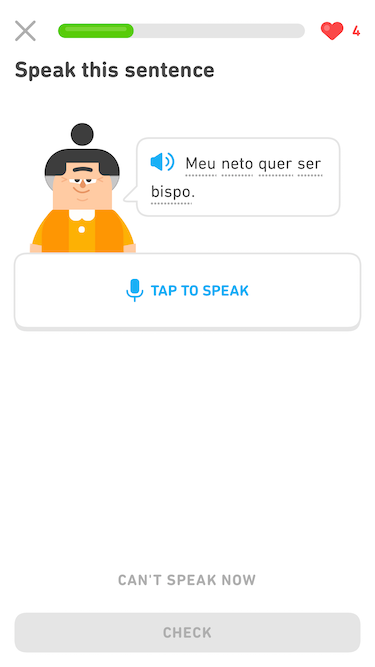 "Screenshot of an exercise with the prompt ""Speak this sentence."" The Duolingo character Lin appears next to a speech bubble, which has a blue audio button and a sentence in Portuguese in black text. Below Lin and the speech bubble is a long button that has a microphone and says ""Tap to speak."""