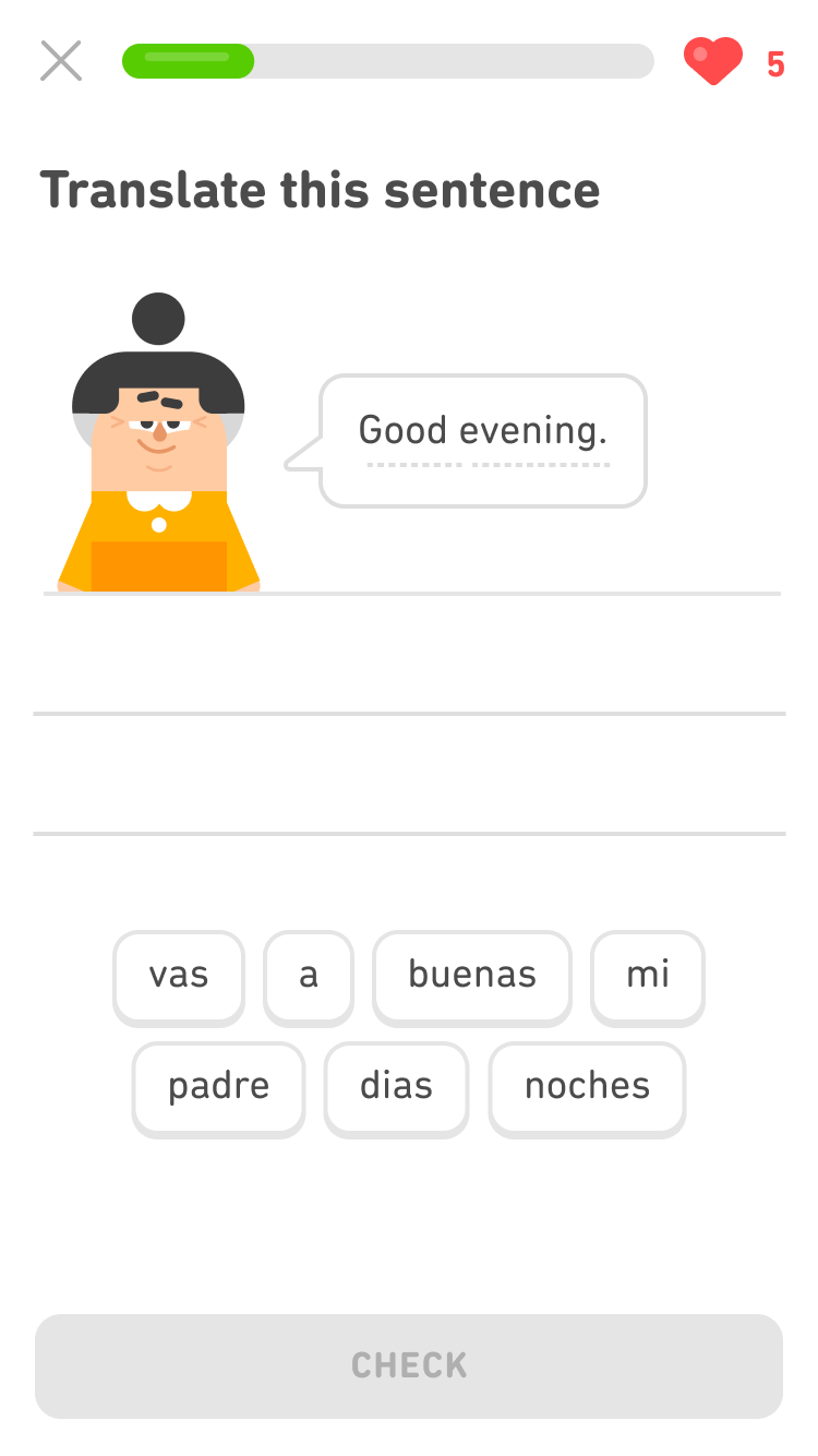 Screenshot of an exercise with the prompt 'Translate this sentence' and an image of the Duolingo character Lin and a speech bubble saying 'Good evening.' At the bottom is a word bank of seven Spanish words.