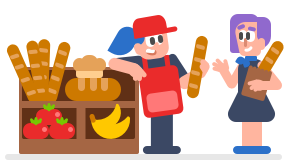 image of two women standing next to a large display of baguettes, loaves of bread, tomatoes, and bananas. The woman on the left wears an apron and appears to be the baker and is talking to the woman on the right, who is carrying a baguette in a paper bag and appears to be a customer
