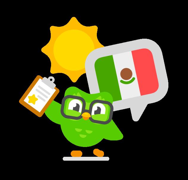 imagen del búho Duo llevando lentes y en su mano una hoja de papel marcado con una estrella, y está de pie al lado de una bandera mexicana y debajo de un sol