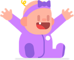 Illsutration of a baby in a purple onesie, sitting on the floor, with their hands raised in joy and their mouth open and smiling. Baby has one blonde curl on their head and is wearing a purple headband with a bow.
