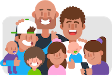 Two dads with their six children. One dad is bald and has a beard, and the other has brown, curly hair. From left to right, their children are an adolescent boy with a white baseball cap worn backwards, giving his sister bunny ears and holding an infant in a purple onesie who has a pacifier in their mouth. The next child is much younger, has a lot of brown, curly hair, and is grinning widely. The next child is a little older, has long hair with a pink bow, and is wearing a pink shirt, is smiling slightly. Next to her you can see the curly-haired dad is holding a sleeping infant in a blue onesie with a pacifier. The last child is wearing a purple short and has a purple hair tie around a ponytail and is playing on a mobile phone.
