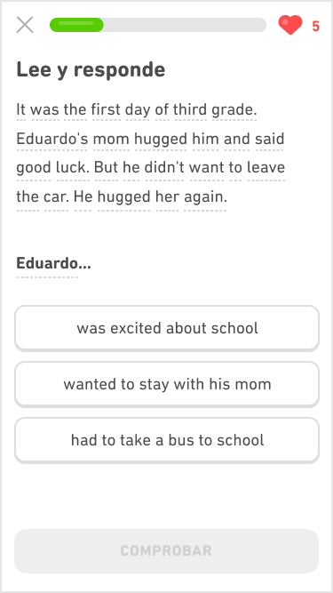 """Captura de pantalla de un ejercicio de inmersión del curso de inglés para hablantes de español. Las instrucciones dicen """"Lee y responde"""", y debajo hay un párrafo de 4 líneas en inglés. Debajo del párrafo está el comienzo de una oración en inglés y tres posibles respuestas que completan la oración."""