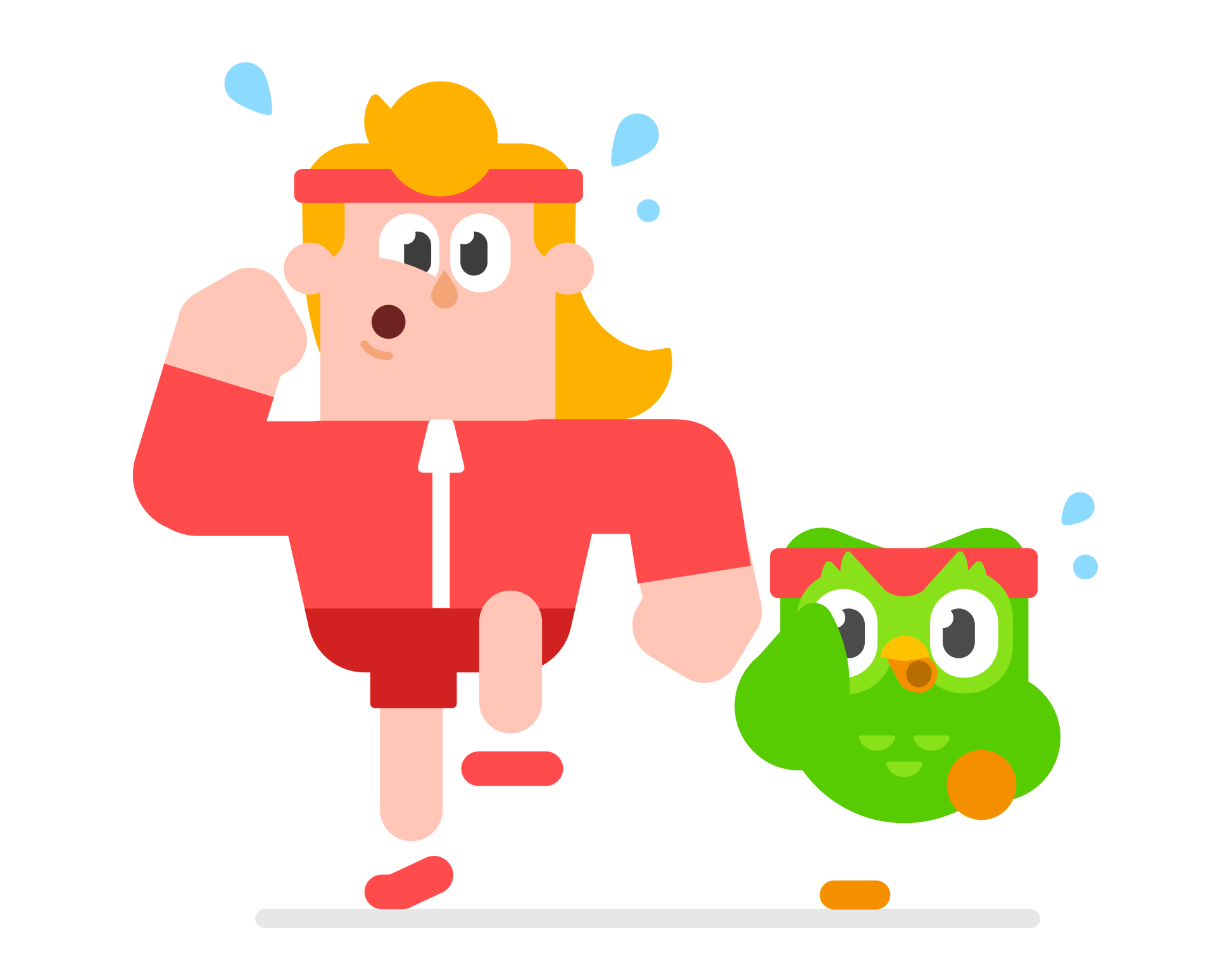 illustration of a tall blonde main in a red track suit running next to a small, green owl with a red exercise head band. Both are sweating.