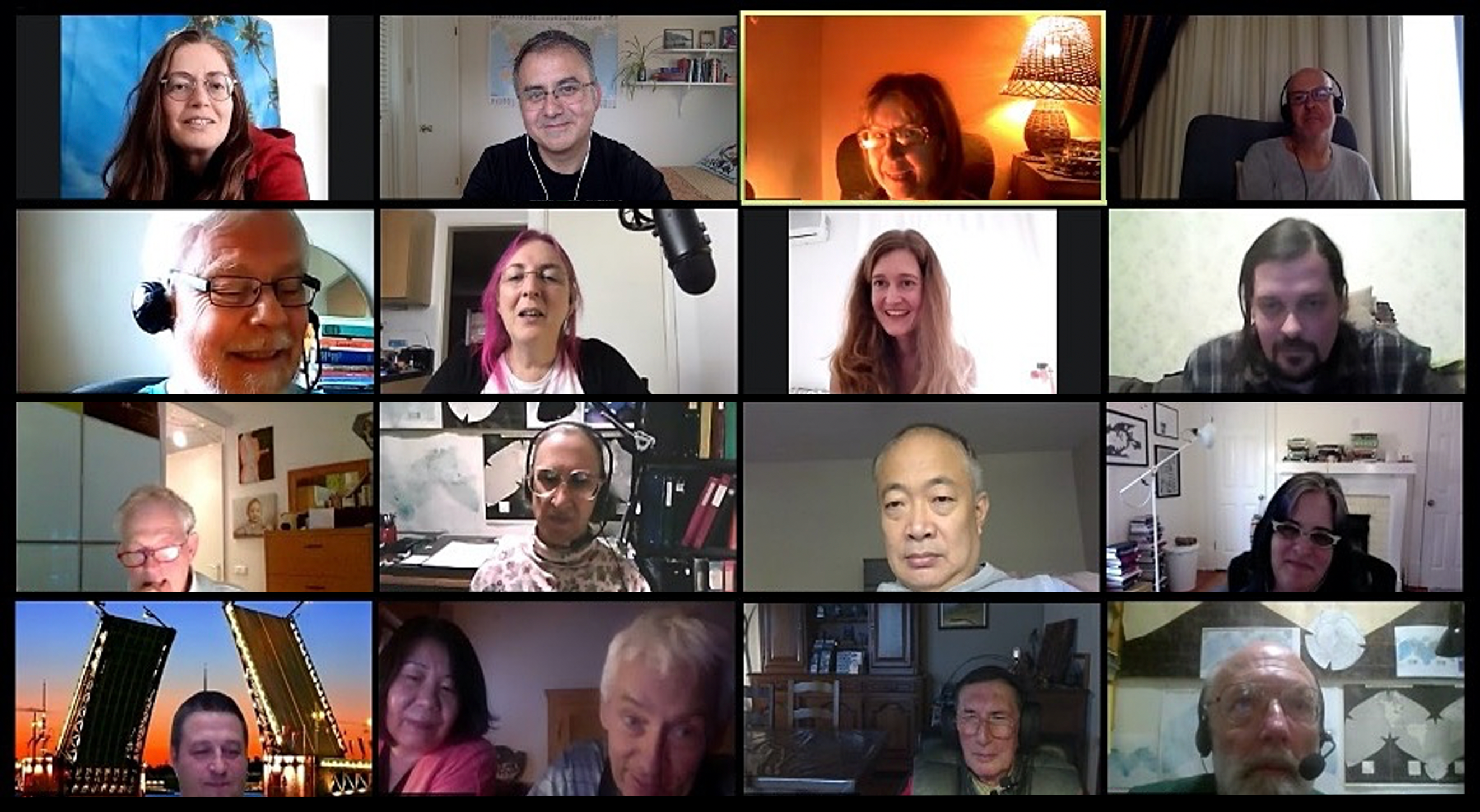 Screenshot of Zoom. 16 faces are arranged in a 4 by 4 design. These are participants in a Duolingo Esperanto language exchange.