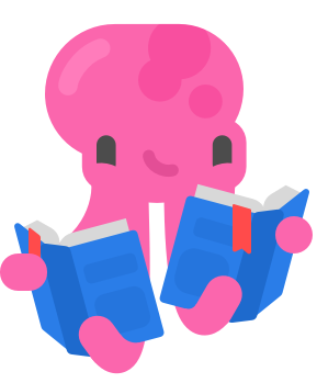 illustration of a pink octopus reading two books