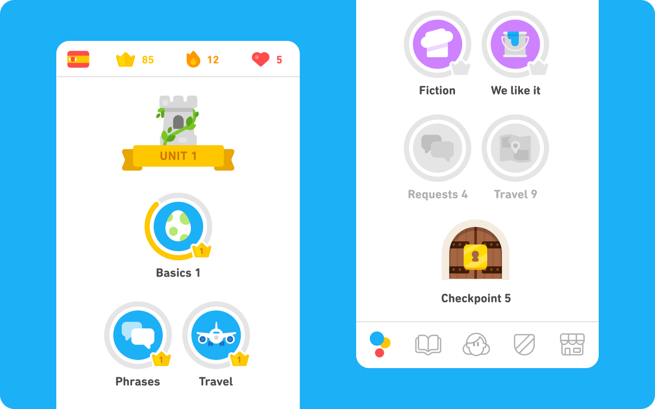 """Two side-by-side screenshots of the Spanish course for English speakers. The left screenshot shows the Spain flag at the top left, Duolingo crowns, streak, and hearts across the top, and the beginning of the course. It starts with a castel tower and a banner reading """"UNIT 1"""" and below it are rows of skills (colorful bubbles representing different topics and lessons): first """"Basics 1"""" and in the following row """"Phrases"""" and """"Travel."""" In the right screenshot, you see the end of Unit 1: four more skill bubbles for Fiction, We like it, Requests, and Travel. At the very end of Unit 1 is a locked castle door labeled """"Checkpoint 5."""""""
