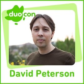 Image of David Peterson with the green DuoCon logo of a green owl at the top left.