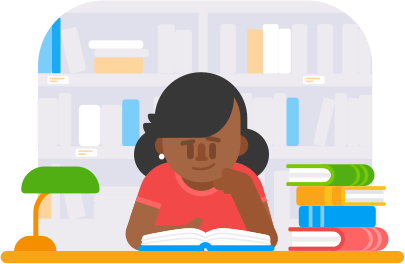 illustration of a woman with long, dark hair sitting quietly in a library while reading a book. She is sitting next to a pile of books and is smiling slightly.