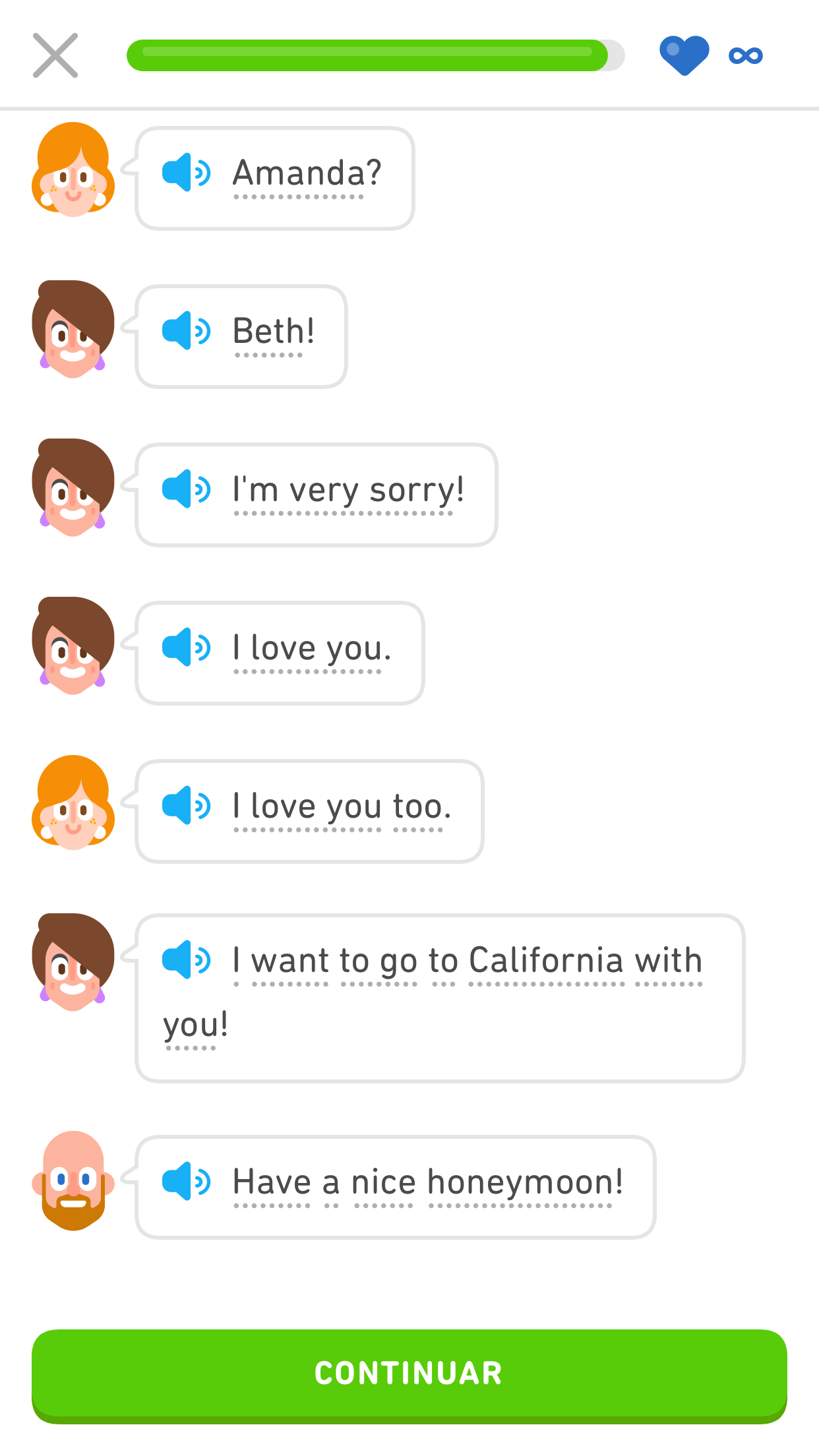 """Screenshot of a dialog from later in the same Duolingo Story. The dialog is between the woman from the cab and a woman standing at the airport. The woman from the cab says, """"Amanda?"""" The woman at the airport says, """"Beth! I'm very sorry! I love you."""" The woman from the cab says, """"I love you too."""" The woman at the airport says, """"I want to go to California with you!"""" The taxi driver says, """"Have a nice honeymoon!"""""""