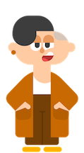illustration of Duolingo character Lin, standing and looking straight at the viewer, with a slight smile, and her hands casually in the pockets of her cardigan