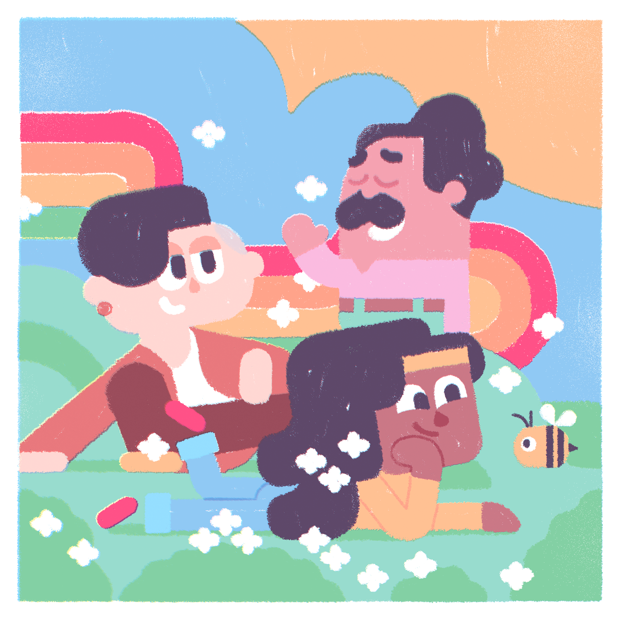 Illustration of the three LGBTQIA Duolingo characters, Lin, Oscar, and Bea. They are in a meadow fillied with flowers, bees, rainbows and the sky is blue. Bea is lying in the grass smiling at a bee and looking whimsical. Lin is sitting cross-legged nearby and Oscar seems to be standing on a hill nearby.