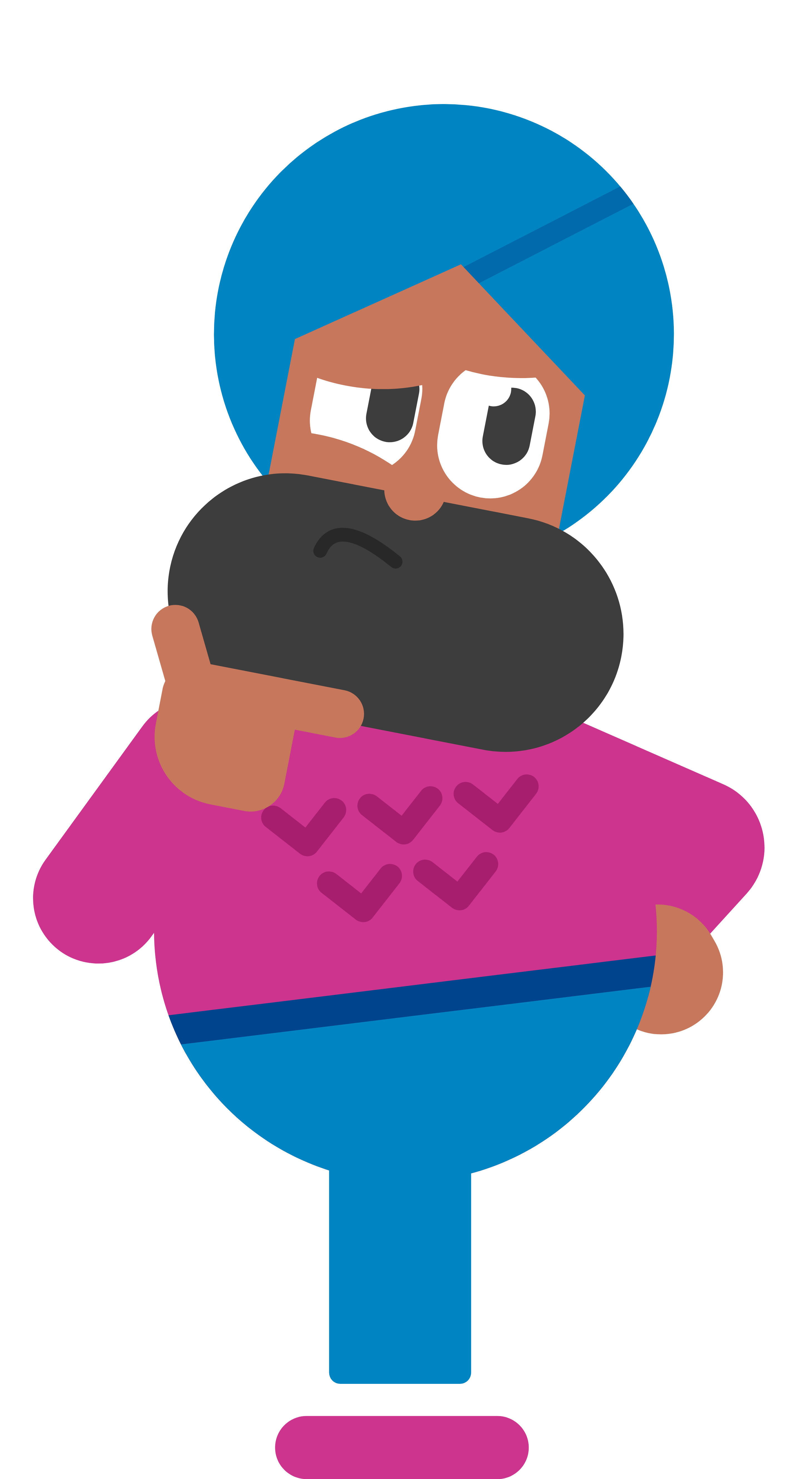 Illustration of the Duolingo character Vikram standing with one hand on his hip, and his other hand holding his beard-covered chin. He looks thoughtful or skeptical
