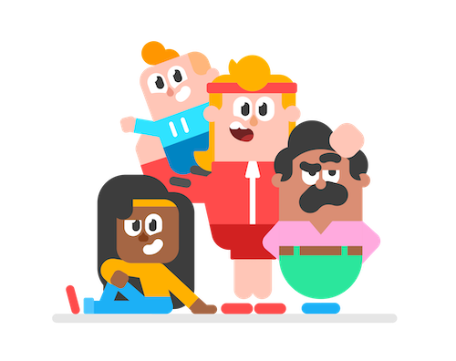 Illustration of four Duolingo characters standing looking straight at the viewer. Bea is sitting on the floor, Eddy is standing carrying Junior on his shoulder, and Oscar is standing next to Eddy and Eddy's hand is awkardly placed on Oscar's head. Everyone is smily, but Oscar looks a little annoyed at Eddy's hand placement.