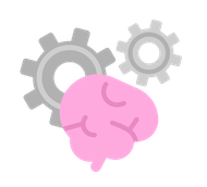Illustration of a foreground brain and two gears working behind it