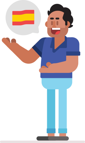 Illustration of a man standing, with arms and hands open mid-gesture. There is a speech bubble coming from his mouth and there is a large flag of Spain in it