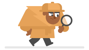Illustration of man dressed as a detective in a trenchcoat and hat, hunched over, and staring attentively through a magnifying glass he's carring in one hand.