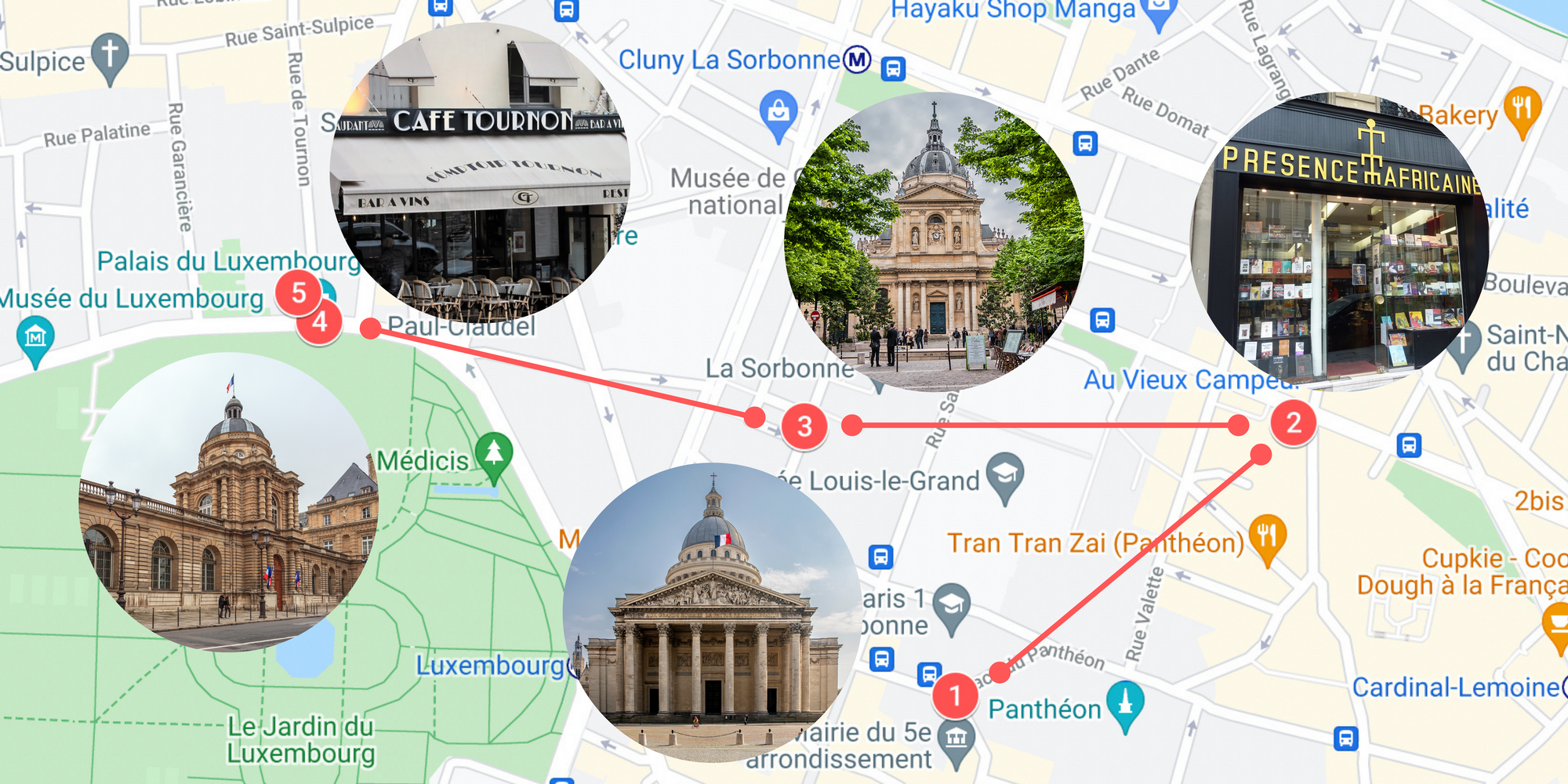 Screenshot of a Goole Map, zoomed in on a neighborhood of Paris. There are five locations numbered in red and red walking paths between them. Each of the five locations has a large, circular photograph of the actual site. The sites include cafés, stores, and buildings.
