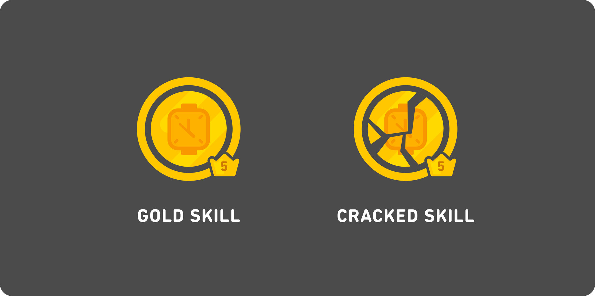"""Illustration of two gold Duolingo """"skills"""" side-by-side. The left one is labeled """"Gold skill"""" and the whole circle and the progress bar around it is all solid gold. On the right is a """"cracked skill"""": the same skill circle and progress bar are all gold, but now it looks shattered, and there are several cracks all throughout the circle."""