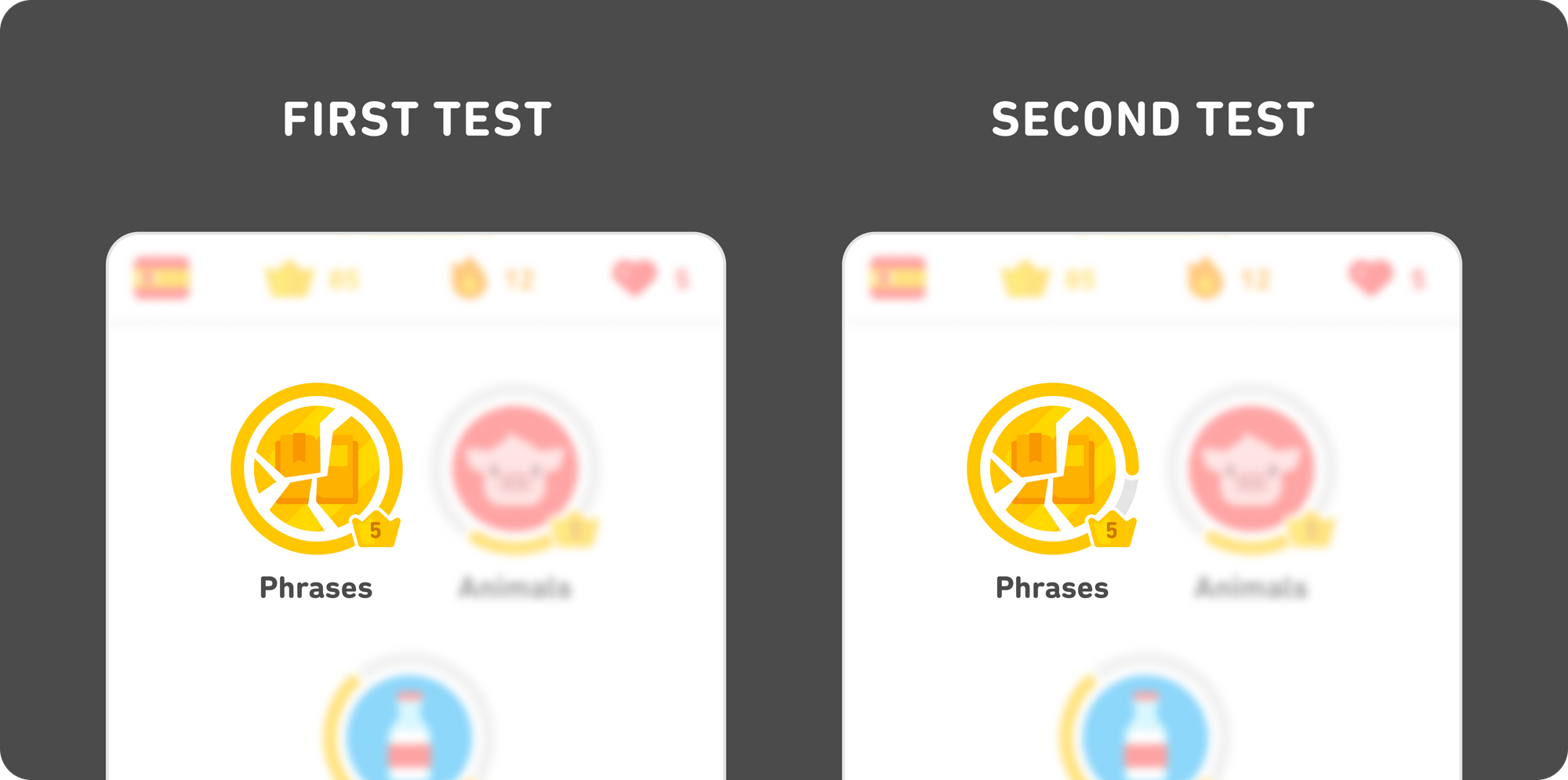 """Illustration of two partial screenshots, side-by-side. On the left is the """"first test"""": the gilded skill circle is gold and cracked, and the progress bar remains fully around the circle. On the right is the """"second test"""": the gilded skill circle is still gold and cracked, but the progress bar has been reduced and it doesn't reach all the way around the skill circle."""