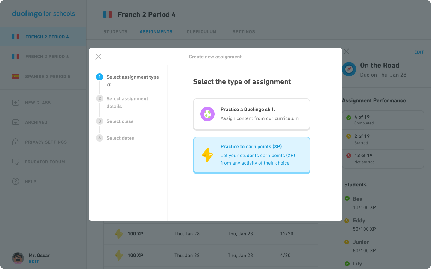 A screen that shows two options for creating an assignment