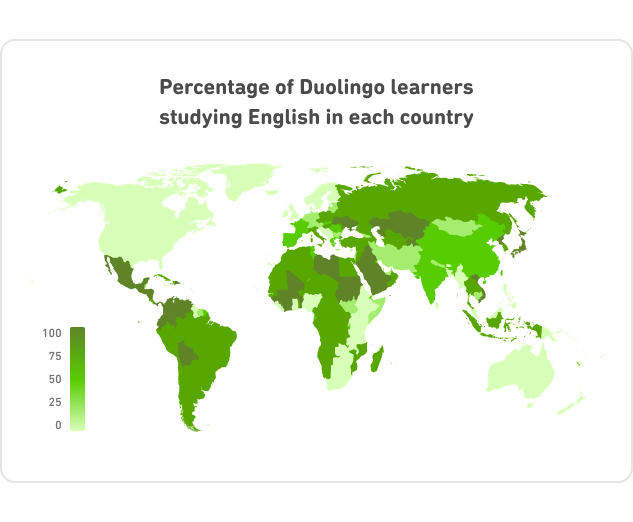 Image of world map percentage of learners studying english in different countries, with highest density in non-english speaking countries