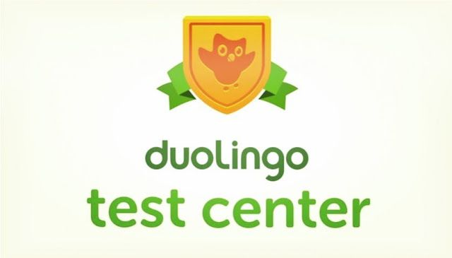 """image of original duo the owl on a golden shield above the words """"Duolingo Test Center"""""""