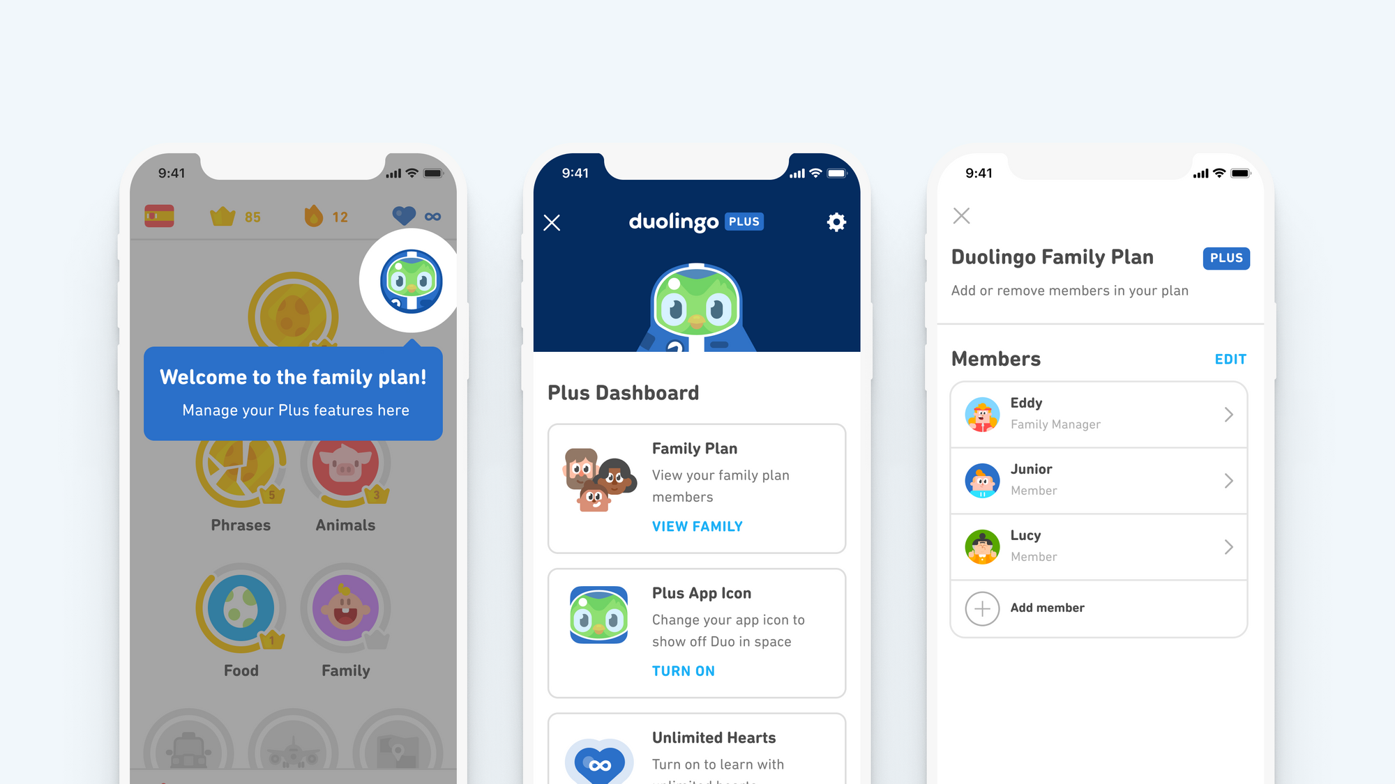 Image of three screenshots of the Family Plan in the Plus dashboard. On the left, the Duolingo Plus icon is highlighted on the home screen. In the middle is the Plus dashboard screen with the Family Plan listed at the top. On the right is the Family Plan screen with the list of members.