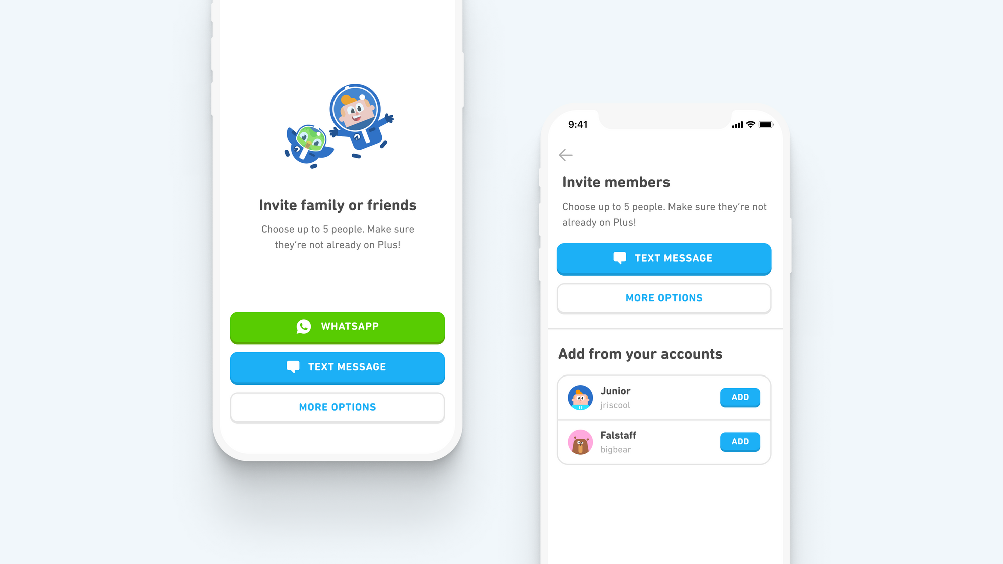 Image of two screenshots. On the left is the screen for inviting people through WhatsApp or text messages by sharing an invite link. On the right is the screen for adding accounts directly.