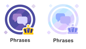 Two illustrations of a skill at the legendary level. Exploring different visual treatments for Legendary skills. One has darker purple and a gold crown, the other has lighter shades of purple.