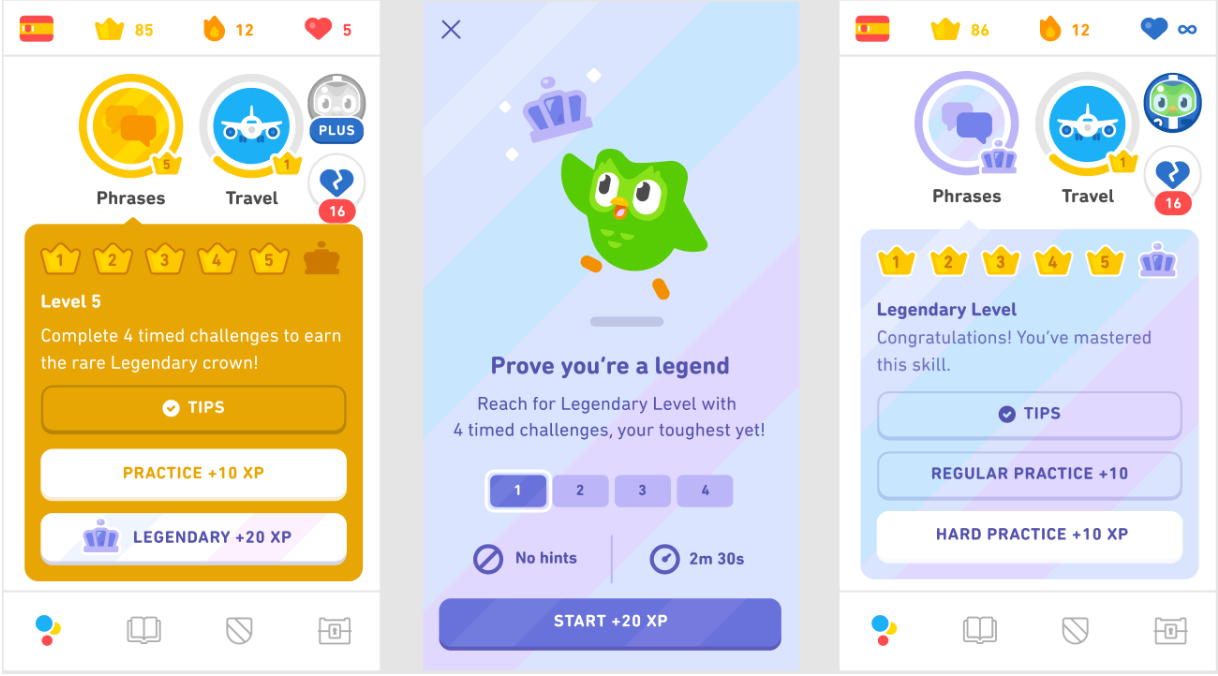 Screenshots of the initial design for Legendary Levels. On the left, the purple legendary level option is available when you click on a golden skill, under the skill practice option. In the middle is the Duolingo owl chasing a purple crown that is just out of his reach, and below him is an explanation of the four timed challenges. On the right, after the Legendary Level is completed, the skill has turned purple.