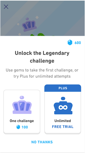 Screenshot explaining that learners can access Legendary via gems for single attempts or Plus for unlimited attempts.