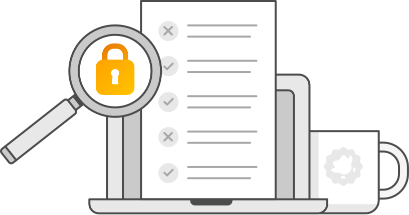 an illustration of a laptop computer; to the right is a magnifying glass in front of the computer screen, with an orange padlock in its lens, and to the left is a coffee mug with the Duolingo English Test logo