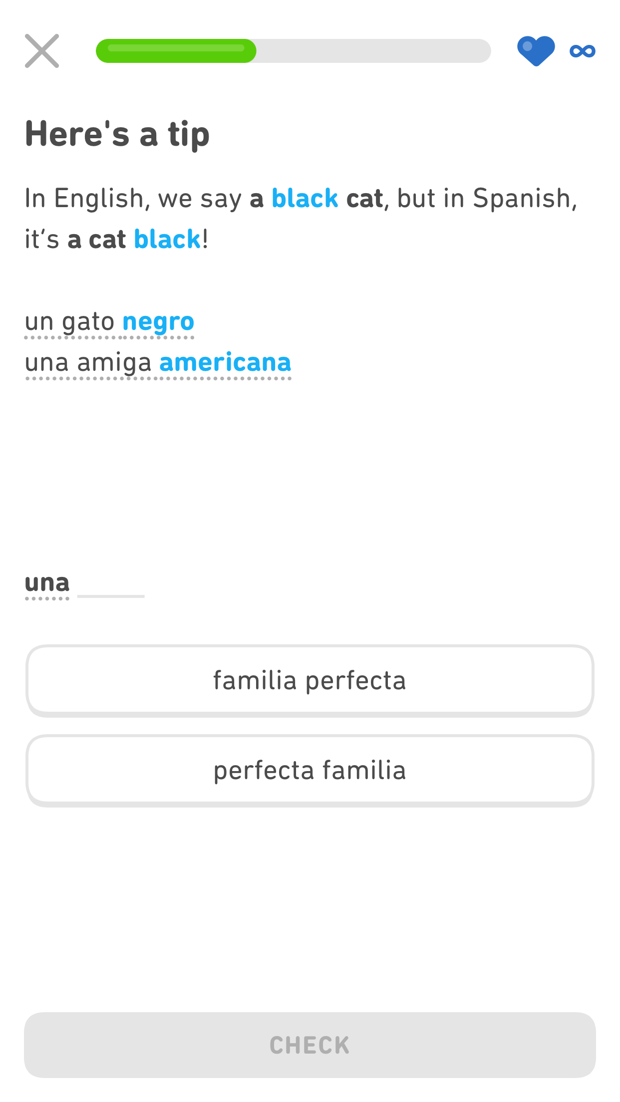 Screenshot of a Duolingo smart tip that says 'In English, we say a black cat, but in Spanish, it's a cat black!' The adjective
