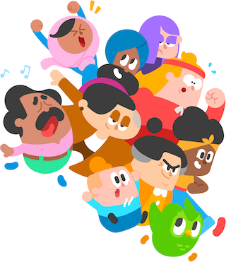 Illustration of the Duolingo characters racing through space. They look excited and determined.
